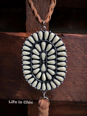WESTERN INSPIRED BRAIDED ROPE NECKLACE IN IVORY