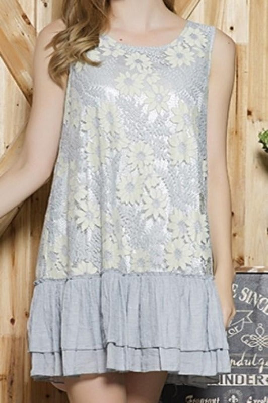 A FABULOUS HEART LACE LAYERING DRESS IN VINTAGE GRAY------sale