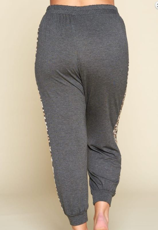 TAKING IT EASY CASUAL PANTS JOGGERS IN CHARCOAL & LEOPARD 1X  2X 3X