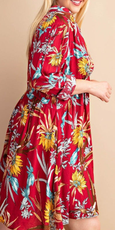 Feeling Groovy empire dress floral in burgundy Mix -------sale