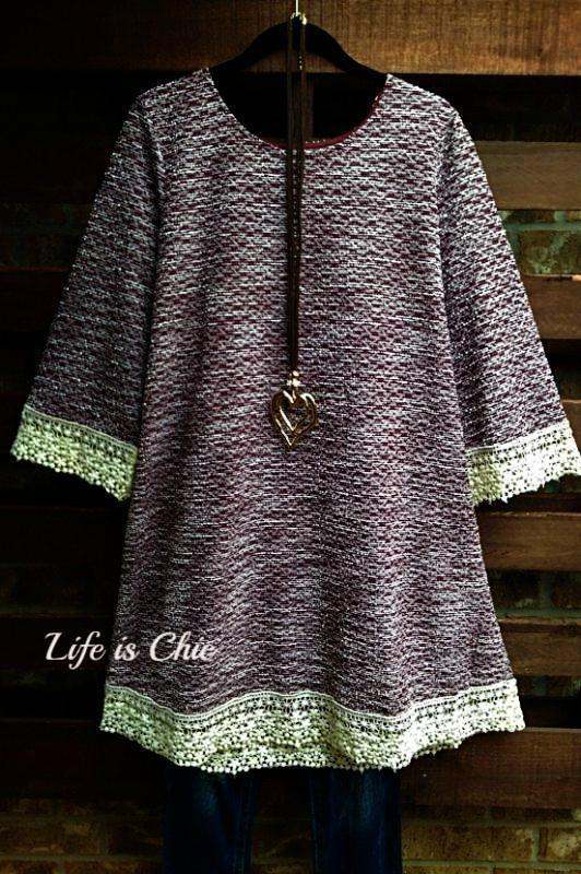 TUNIC LACE AND SPARKLE IN WINE MIX -sale