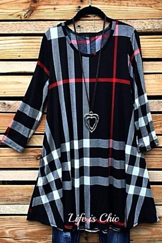 LET'S GO DRESS PLAID IN BLACK-MIX, TUNIC - Life is Chic Boutique