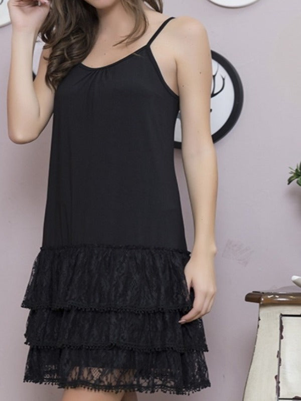 INSPIRED BY YOU LACE EXTENDER SLIP DRESS  IN BLACK