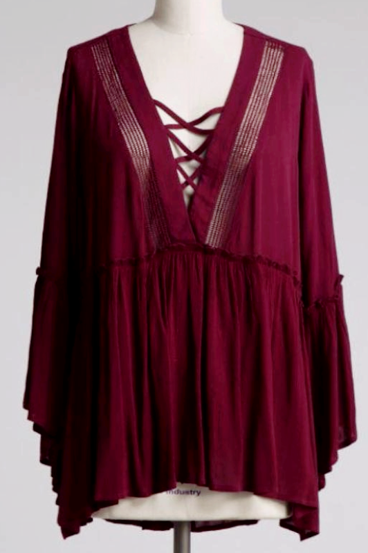 ALL THE TIME  EMBELLISHED COZY TUNIC IN BURGUNDY - SALE [product vendor] - Life is Chic Boutique
