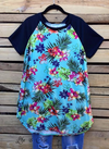 HAWAIIAN ISLAND BEAUTY T-TUNIC IN MINT MIX - sale [product vendor] - Life is Chic Boutique