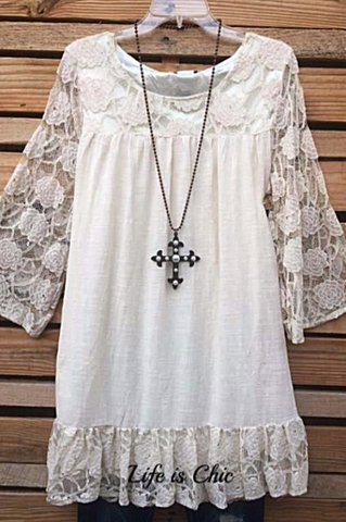 LA DOLCE VITA LACE EMBROIDERED CARDIGAN IN OFF-WHITE