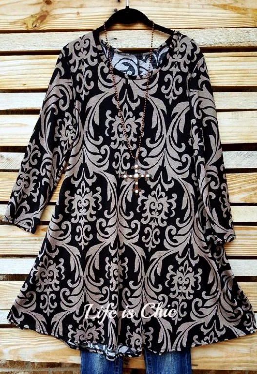 DAMASK FAIRYTALE TUNIC IN BLACK AND TAUPE