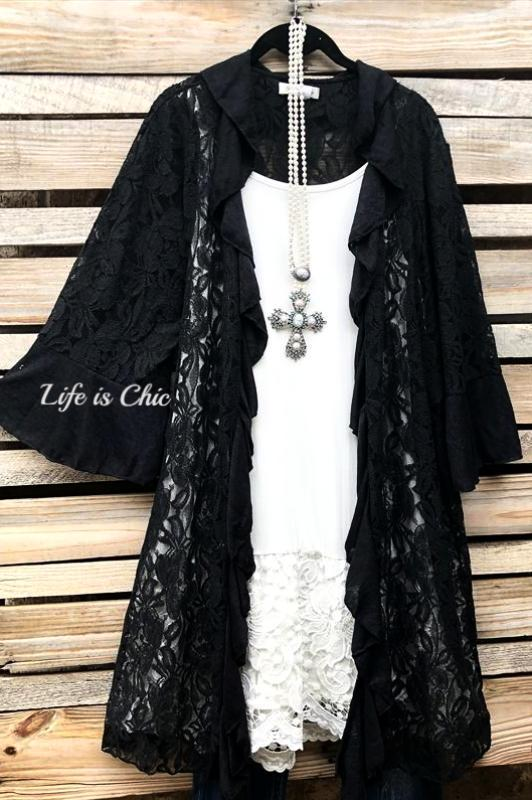 FLEUR-DE-LIS CARDIGAN LACE BLACK [product vendor] - Life is Chic Boutique