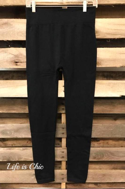 "REGULAR ""ONE"" SIZE BASIC BLACK LEGGINGS"