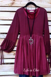 UNFORGETTABLE BEAUTY EMPIRE-WAIST DRESS IN BURGUNDY [product vendor] - Life is Chic Boutique