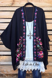 EMBROIDERED VINTAGE FLORAL KIMONO IN BLACK & MULTI-COLOR [product vendor] - Life is Chic Boutique