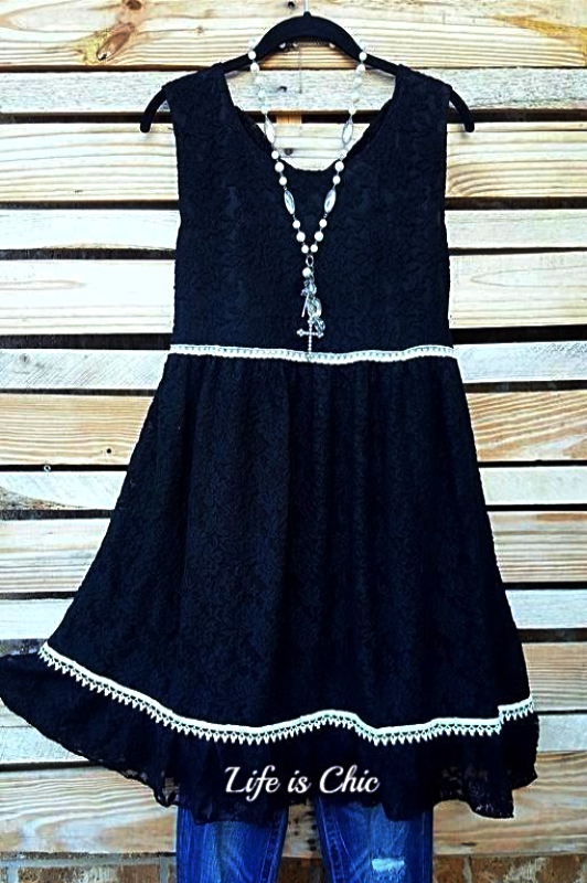 RECORD BEAUTY LACE DRESS IN BLACK [product vendor] - Life is Chic Boutique