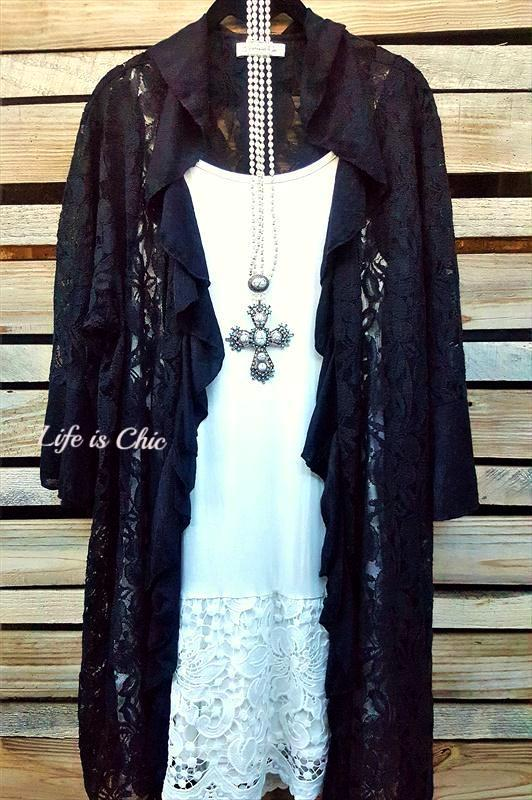 FLEUR DE LIS LACE DUSTER CARDIGAN IN BLACK