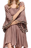 BOHO-HIPPIE FRINGE SWING OVERSIZED TUNIC IN MOCHA [product vendor] - Life is Chic Boutique