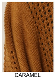 COZY & COOL  OVERSIZED HOODED SWEATER PONCHO IN BROWN CARAMEL