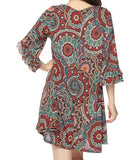 MY MOMENT MANDALA RUST PRINT DRESS [product vendor] - Life is Chic Boutique