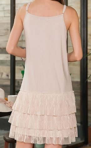 SO SWEET ROMANCE LACE SLIP DRESS EXTENDER IN BEIGE