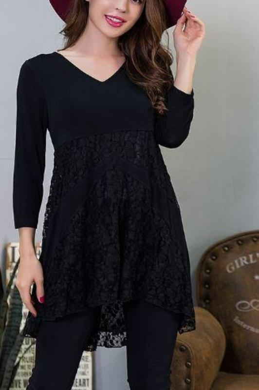 LOVING HEART LACE TOP IN BLACK