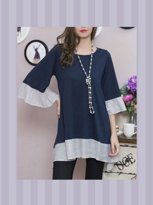 UNIQUE BEAUTY LIGHTWEIGHT TIMELESS TUNIC IN NAVY BLUE