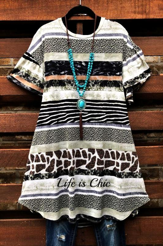 SOMETHING WONDERFUL ANIMAL PRINT T-DRESS IN MULTI-COLOR