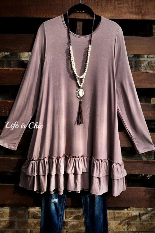 LOVELY COZY OVERSIZED COMFY DRESS IN TAUPE