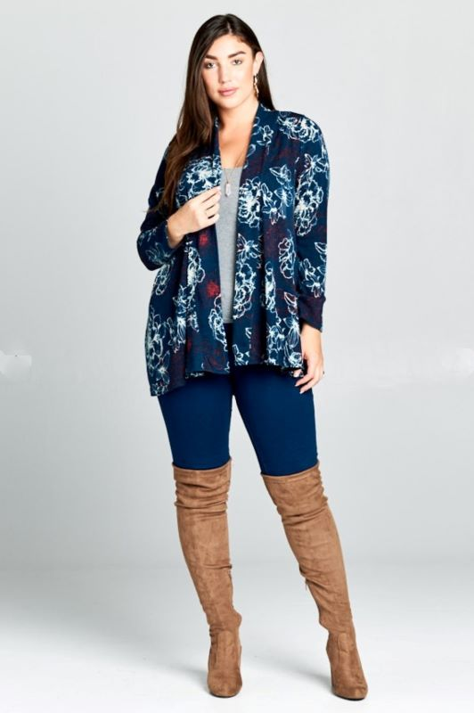 WIND OF CHANGE OVERSIZED FLORAL CARDIGAN IN TEAL----------------sale