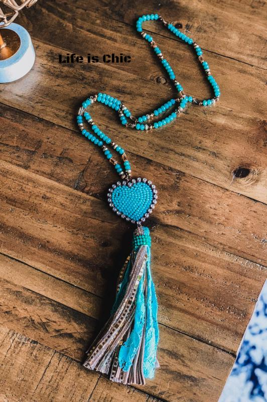 LOVE IN YOUR HEART TURQUOISE CRYSTAL BEADED NECKLACE