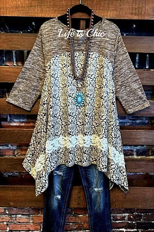CIAO AMORE LOVELY EMBELLISHED LACE & PEARL TUNIC IN BROWN