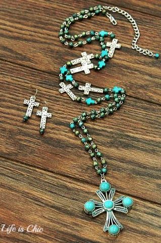 WILD BEAUTY CROSS NECKLACE