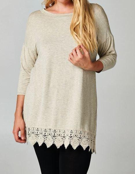 WHEREVER YOU GO LACE T-SHIRT TUNIC - OAT [product vendor] - Life is Chic Boutique