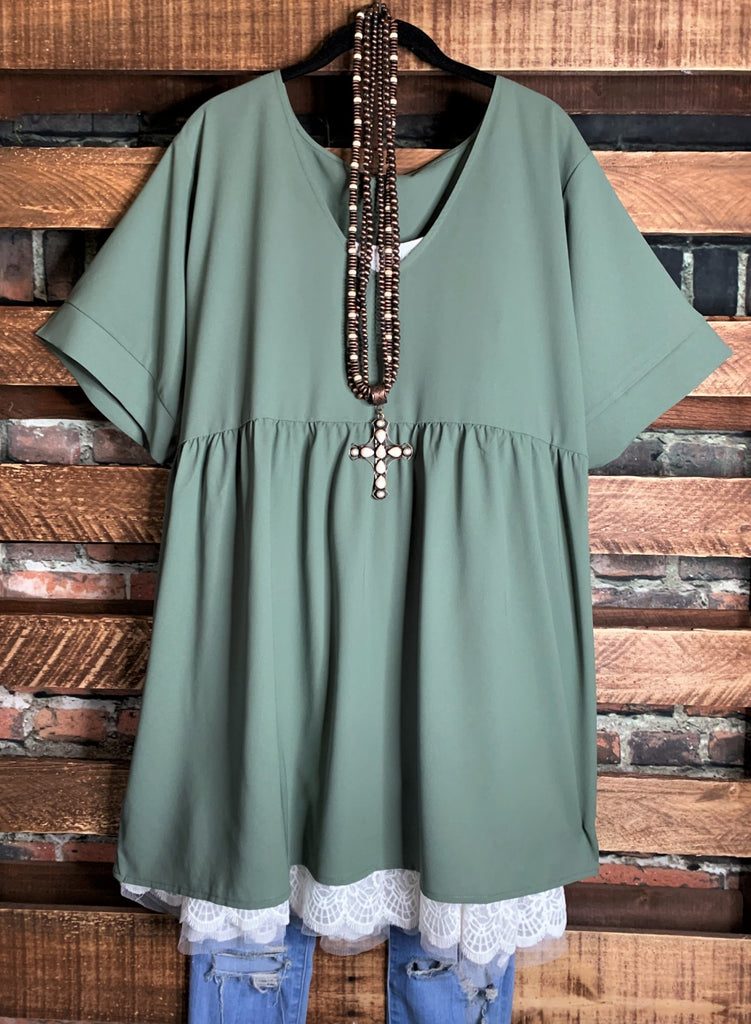 Easy To Love  Comfy Casual Tunic in Olive