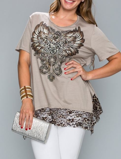 WILD NIGHT SHIMMERS TOP IN TAUPE [product vendor] - Life is Chic Boutique