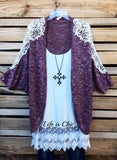 LITTLE BIT OF LOVE CROCHET VINTAGE CARDIGAN IN BURGUNDY [product vendor] - Life is Chic Boutique