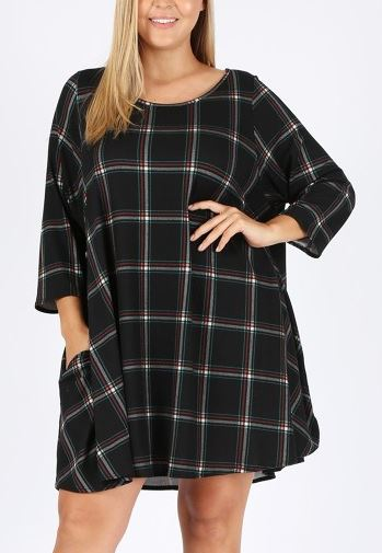 ALWAYS BE ADORABLE PLAID SWEATER TUNIC IN BLACK 3X 4X 5X--------sale