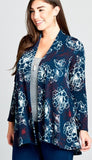 Floral Print Cardigan in Dark Teal---------------sale