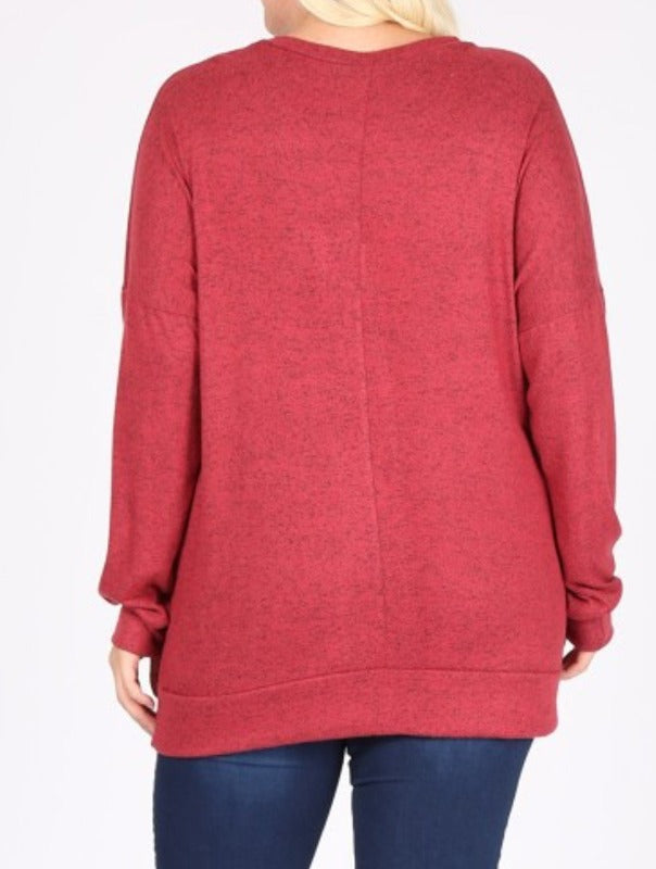 IN THE WIND SOFT CASUAL SWEATSHIRT IN RED RUBY