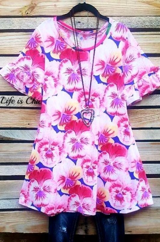 LIGHT OF YOUR LIFE FLORAL TUNIC IN PINK [product vendor] - Life is Chic Boutique