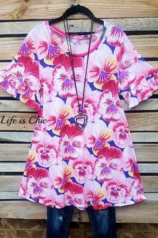 LIGHT OF YOUR LIFE FLORAL TUNIC IN PINK - sale [product vendor] - Life is Chic Boutique