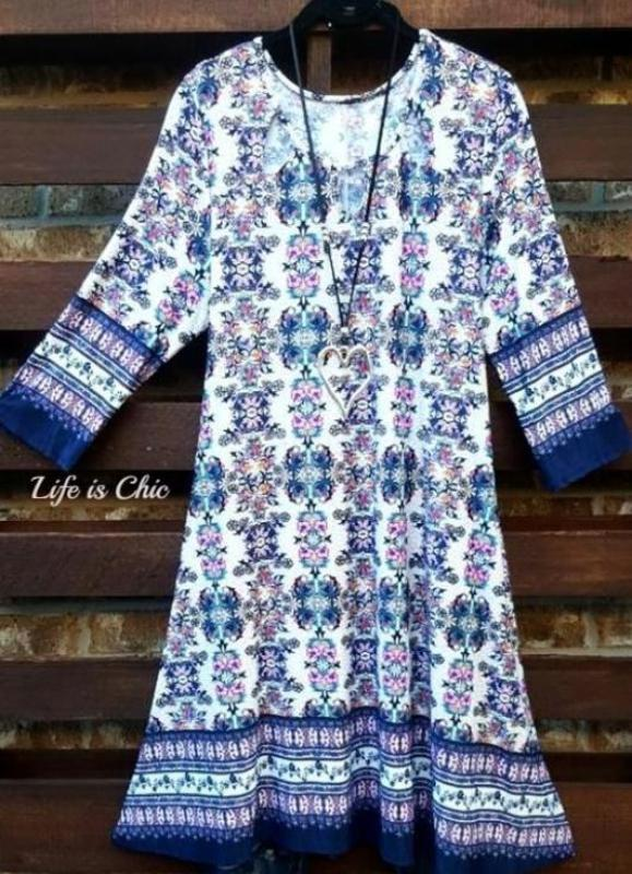 SUMMER GETAWAY NAVY BLUE PRINT DRESS [product vendor] - Life is Chic Boutique