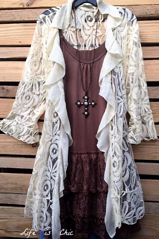 FLEUR-DE-LIS CARDIGAN LACE IN BEIGE [product vendor] - Life is Chic Boutique