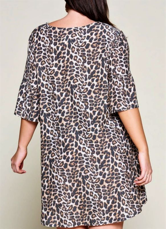 CHARMING WILD LEOPARD PRINT DRESS IN BROWN