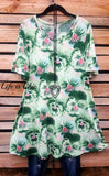 LIGHT OF YOUR LIFE FLORAL TUNIC IN GREEN - sale [product vendor] - Life is Chic Boutique