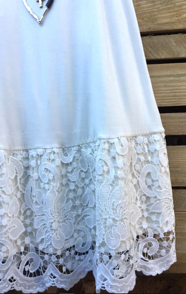 AMORE MIO LACE SLIP EXTENDER DRESS IN RUFFLE OFF-WHITE [product vendor] - Life is Chic Boutique