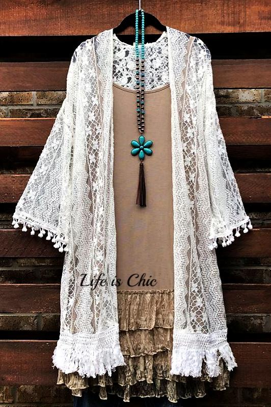 FAVORITE ROMANCE LACE FRINGE DUSTER CARDIGAN IN WHITE