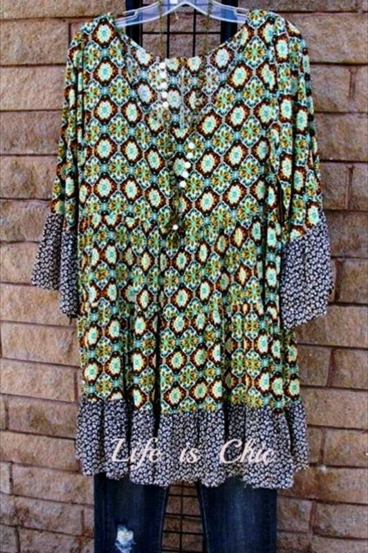 Weekend Chill Mix Print Dress - Green/Black [product vendor] - Life is Chic Boutique