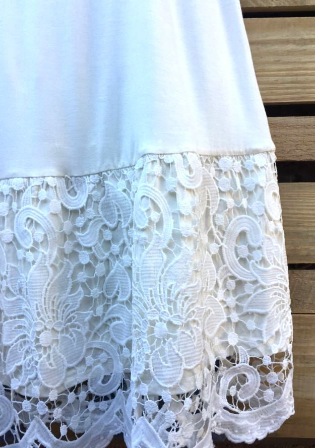 LACE SLIP EXTENDER DRESS IN OFF-WHITE [product vendor] - Life is Chic Boutique