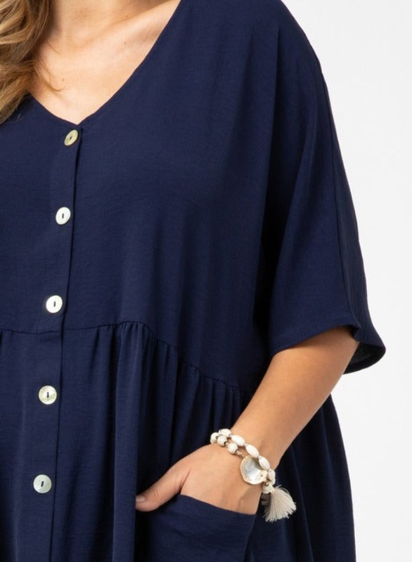 HAPPY LOVE DAY CASUAL OVERSIZED COMFY PATCHED POCKETS DRESS IN NAVY BLUE