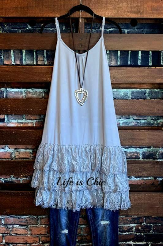 INSPIRED BY YOU LACE LYCRA EXTENDER SLIP DRESS IN GRAY