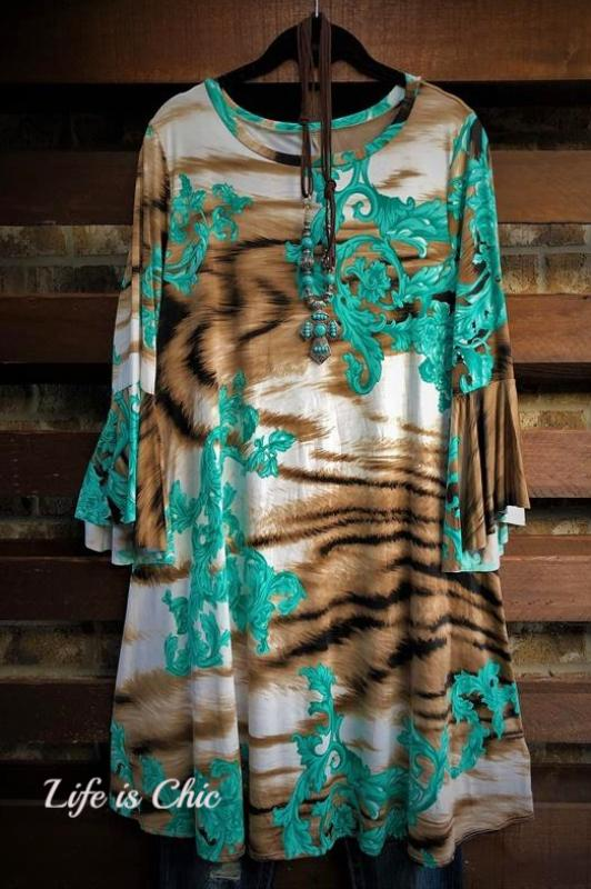 ALL FOR WONDER DRESS PLUS MULTI PRINT BROWN AND MINT