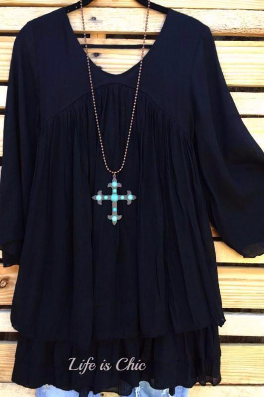MORNING MUSE TOP LAYERED IN BLACK [product vendor] - Life is Chic Boutique